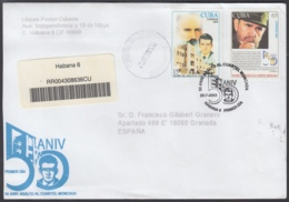 2003-FDC-57 CUBA FDC 2003. REGISTERED COVER TO SPAIN. 50 ANIV ATAQUE AL MONCADA, JOSE MARTI, FIDEL CASTRO, - FDC