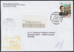 2003-FDC-58 CUBA FDC 2003. REGISTERED COVER TO SPAIN. 150 ANIV MUERTE DE FELIX VARELA. - FDC
