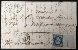 France 1854 Napoleon N°14 20c Bleu Laiteux Grand BDfeuille Avec Filet D'encadrement De Castres S L'Agout Signé Calves - 1853-1860 Napoléon III