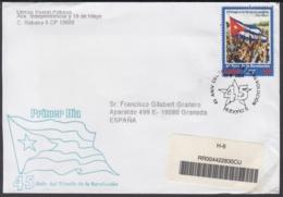 2004-FDC-28 CUBA FDC 2004. REGISTERED COVER TO SPAIN. 45 ANIV TRIUNFO DE LA REVOLUCION, BANDERA, FLAG - FDC