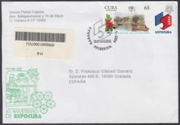2004-FDC-29 CUBA FDC 2004. REGISTERED COVER TO SPAIN. XV ANIV DE EXPOCUBA. - FDC