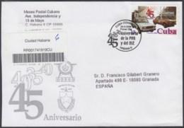 2004-FDC-33 CUBA FDC 2004. REGISTERED COVER TO SPAIN. 45 ANIV POLICIA NACIONAL, SEGURIDAD DEL ESTADO, SPY, SPIES. - FDC