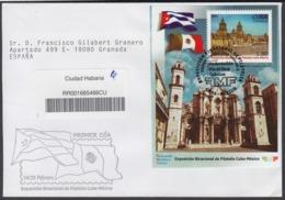 2004-FDC-35 CUBA FDC 2004. REGISTERED COVER TO SPAIN. HF PHILATELIC EXPO CUBA – MEXICO. CATEDRAL DE LA HABANA. - FDC