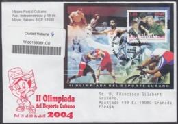 2004-FDC-36 CUBA FDC 2004. REGISTERED COVER TO SPAIN. HF II OLIMPIADA DEPORTE CUBANO, FIDEL CASTRO, AJEDREZ, CHESS. - FDC