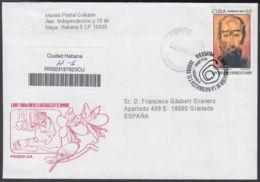 2004-FDC-37 CUBA FDC 2004. REGISTERED COVER TO SPAIN. ANTONIO NUÑEZ JIMENEZ, FUNDACION NATURALEZA Y EL HOMBRE. - FDC