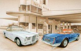 Garage Facel Vega  -  Tableau De Francois Bruère  -  Art Card  -  CPM - Voitures De Tourisme