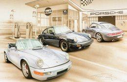 Garage Porsche  -  Tableau De Francois Bruère  -  Art Card  -  CPM - Voitures De Tourisme
