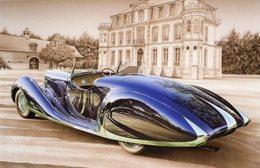 Bugatti Type 57  -  Tableau De Francois Bruère  -  Art Card  -  CPM - Voitures De Tourisme