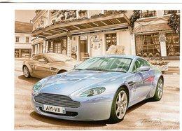 Aston Martin V8 Vantage  -  Tableau De Francois Bruère  -  Art Card  -  CPM - Voitures De Tourisme