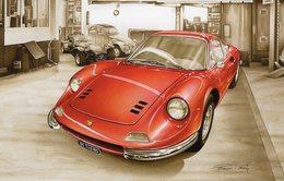 Ferrari Dino 246 GT  -  Tableau De Francois Bruère  -  Art Card  -  CPM - Voitures De Tourisme