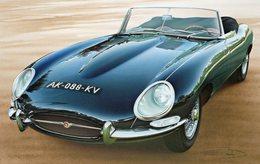 Jaguar Type E  -  Tableau De Francois Bruère  -  Art Card  -  CPM - Voitures De Tourisme