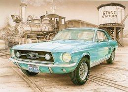Ford Mustang  -  1967  -  Tableau De Francois Bruère  -  Art Card  -  CPM - Voitures De Tourisme
