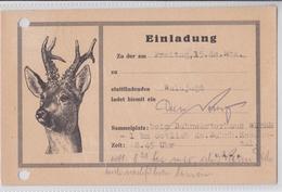 HESSENTAL POSTKARTE 11.11.1929 EINLADUNG WALDJAGD CARTE POSTALE INVITATION CHASSE CERF DEER HUNTING POST CARD HIRSCH - Allemagne