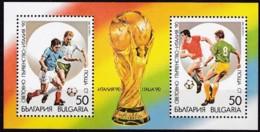 Bulgarien, 1989, 3799/00 Block 208, Fußball-Weltmeisterschaft 1990, Italien. MNH ** - Bulgarien