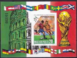 Ungarn, 1990, 4093 Block 210 B, Fußball-Weltmeisterschaft 1990, Italien. MNH ** - Ungebraucht