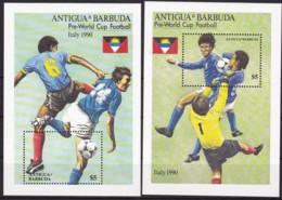 Antigua Und Barbuda, 1989, 1256/57 Block 160/61, Fußball-Weltmeisterschaft 1990, Italien. MNH ** - Antigua And Barbuda (1981-...)