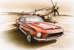 Mustang Shelby GT 500  -  Tableau De Francois Bruère  -  Art Card  -  CPM - Voitures De Tourisme