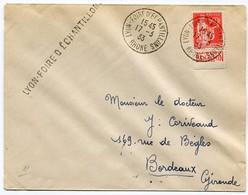 !!! 50C PAIX AVEC BANDE PUB BENJAMIN SUR LETTRE CACHET LYON FOIRE ECHANTILLON 1933 - Advertising