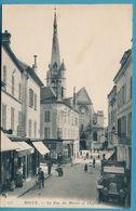 MELUN - La Rue Du Miroir Et L'Eglise - Auto Renault Oldtimer (animation) - Melun