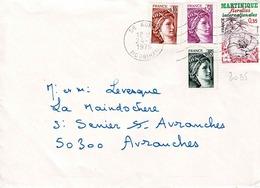TP N° 2035 Complété Par 3 Sabine Sur Enveloppe De Auray - Postmark Collection (Covers)