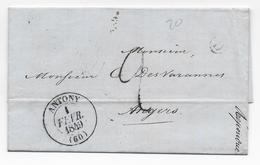 1849 - SEINE - LETTRE Avec BOITE RURALE D NON IDENTIFIEE + T13 De ANTONY - IND 6 - 1849-1876: Periodo Classico
