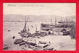 E-Italie-335P61  PALERMO, Il Porto Con Veduta Della Citta, Les Bâteaux, Cpa BE - Palermo