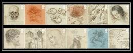 Gran Bretagna UK (2019) Leonardo Da Vinci (500th Anniversary Of Death) - Set Of 12 Stamps (MNH) - Célébrités