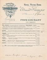 84 LE THOR Près L' ISLE SUR LA SORGUE  PRIX COURANT Tarif 1910  HOTEL NOTRE DAME  Raisins GRANGIER - X30 Vaucluse - France