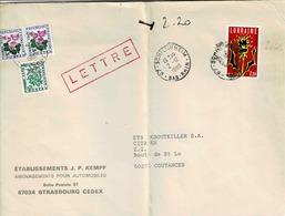 TP N° 2065 Seul Sur Enveloppe De Schiltigheim Taxée 2,20 Fr - Marcophilie (Lettres)