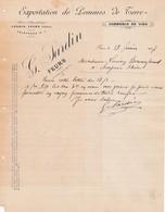 42 FEURS COURRIER 1907 Exportation De Pommes De Terre Commerce De Vins SARDIN X30 LOIRE - France