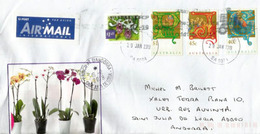 Blue Orchid Australia (New Stamp)  On Letter, Sent To Andorra, With Arrival Postmark - Orquideas