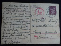 STO Carte 2 1944 Danzig Pessac Gironde Stalag Oflag Prisonnier De Guerre Pommern Polen Deutsches Reich Censure Ae - Historische Dokumente