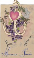CARTE  CELLULO ,,,,,BONNE ANNEE ,,,,ANCRE DE MARINE ,,,, Voyage 1919 - Cartes Postales