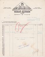 42 FEURS Loire  FACTURE 1942 Produits Agricoles Pommes De Terre MAGAT SARDIN X30 - France