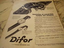 ANCIENNE PUBLICITE MONTRE DIFOR 1960 - Advertising