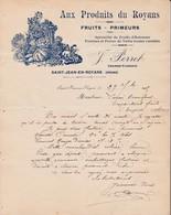 26 SAINT JEAN EN ROYANS COURRIER 1915 Aux Produits Du Royan Fruits Primeurs PERRET X30 Drôme - France