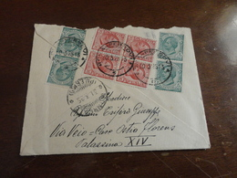 PICCOLA LETTERA CON QUARTINA 10 CENTESIMI+4 5 CENTESIMI SUL RETRO BUSTA -1925 - 1900-44 Vittorio Emanuele III