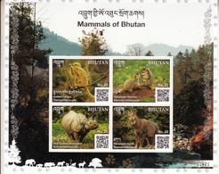 BHUTAN 2019.- MAMMALS-ANIMALS OF HIMALAYAS- MNH SET+ MINIATURE SHEET-  BHUTAN QR CODED STAMPS - Red Panda- Rhino - Bhoutan