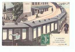 89 Sens Cpa Carte Fantaisie Train Gare , Je Quitte Sens Et Vous Adresse Mon Meilleur Souvenir Cachet 1912 - Sens