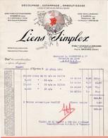 38 SAINT EGREVE St FACTURE 1934 Découpage Estampage Emboutissage LIENS SIMPLEX  LEVEQUE & BRIZARD   X30 Isere Grenoble - France