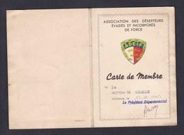 WW2 Carte De Membre Association Des Deserteurs Evades Et Incorpores De Force Section Oderen René Ludwig Husseren - 1939-45
