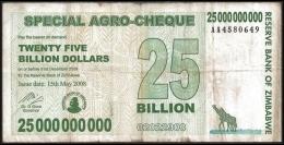 Zimbabwe 25 Billion Dollars 2008 P 62 ( Zimbabue  ) - Zimbabwe