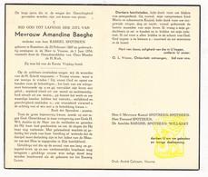 DP Amandine Baeghe ° Roeselare 1867 † Veurne 1954 X Kamiel Spotbeen / Willaert - Devotieprenten