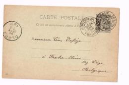 Entier Postal à 10 Centimes.Expédié De Bordeaux à Fexhe-Slins (Glons) Belgique. - Entiers Postaux