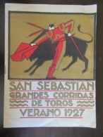 Programme Corrida - San Sebastian Grandes Corridas De Toros - Verano 1927 - Tampon Voyages-Change - TBE - Programmes