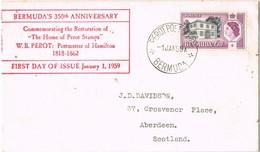 31924. Carta PEROT Post Office (Bermuda) 1959. Postmaster Hamilton 350 Anniversary - Bermudas