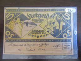 Ticket Avignon Wheinacht 1921 5 Mark - Communauté De Prisonniers De Guerre - Tickets - Vouchers