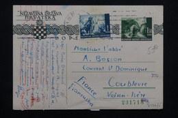 CROATIE - Entier Postal + Complément De Zagreb Pour La France En 1942 Avec Contrôle Postal Allemand - L 23367 - Croatia