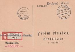 Tchécoslovaquie Carte Recommandée Dittersbach 1945 - Tchécoslovaquie