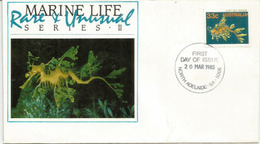 L'hippocampe Feuille (Rare & Unusual Marine Life).  FDC Australie - Poissons